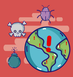 Cybercrimes around the world vector