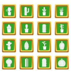Different cactuses icons set green vector