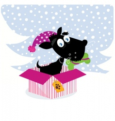 dog in Christmas gift vector image