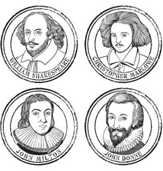 English poets playwrights vector