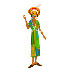 Ethnic tribe african people man culture clothes vector