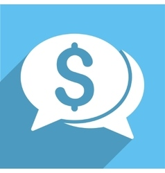 Financial Chat Long Shadow Square Icon vector