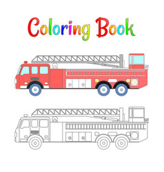 Fire truck coloring book coloring pages vector