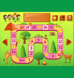 game template with kids and wild animals vector image