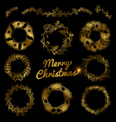 Gold christmas hand drawn wreaths border frames vector