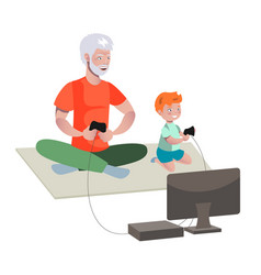Grandfather and boy playing video games vector