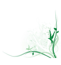 green bird floral vector image