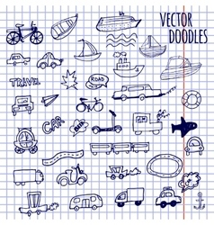 Hand-drawn doodle-style cars ships and bicycle vector