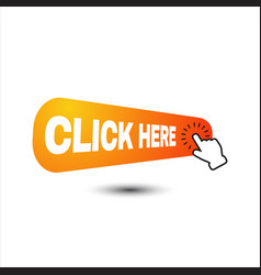 hand pointer clicking click here button round vector image