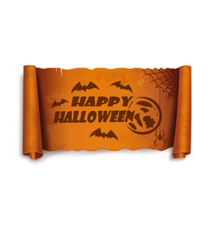 happy halloween - text on scroll greeting ribbon vector image