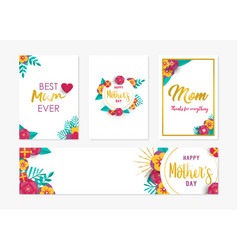 Happy mother day spring flower art card set vector