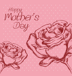 happy mothers day flower roses polka dot vector image