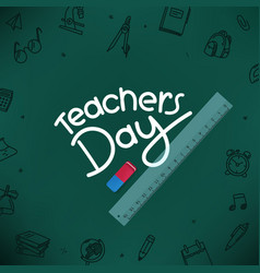 Happy teachers day concept with lettering vector