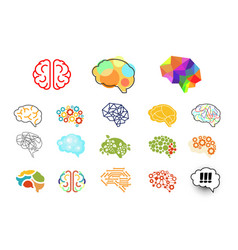 Human brains in various styles mind icons set vector
