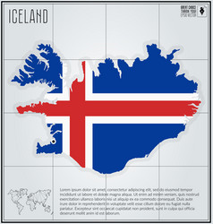Iceland map with flag inside vector