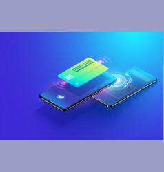 isometric payment though smartphone with scan qr vector image