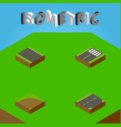 isometric road set of sand footer without strip vector image