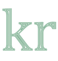 Krone denmarksweden currency symbol icon stripe vector
