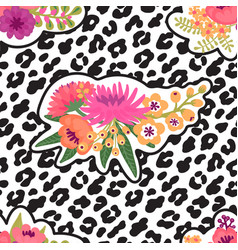 leopard print and flower embroidery fashion patch vector image