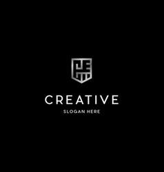 letter ec shield creative logo vector image