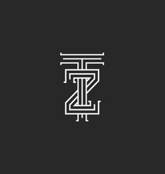 letters logo tz linear medieval monogram template vector image