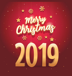 merry christmas 2019 text with elegant vector image