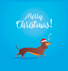 merry christmas funny cartoon dancing dog sings vector image