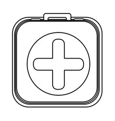 monochrome rounded square with first aid kit vector image