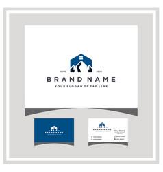 Mountain home logo design and business card vector
