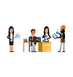 Multiethnic business people working in office vector