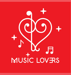 Musical clefs design forming a heart shape vector