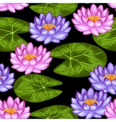 Natural seamless pattern with lotus flowers and vector image