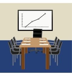 Office with table and a graph vector image