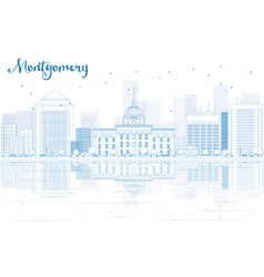 Outline Montgomery skyline with blue buildings vector