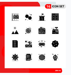 Pack 16 modern solid glyphs signs and symbols vector