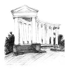 Pencil sketch of colonnade vector