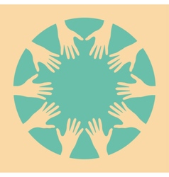 People hands united together vector