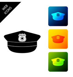 Police cap with cockade icon isolated on white vector