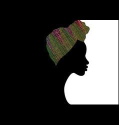 Portrait afro woman shenbolen ankara head wraps vector