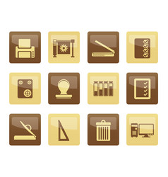 Print industry icons over brown background vector