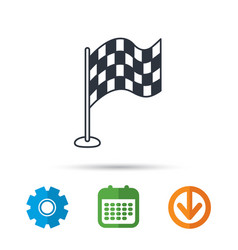 racing flag icon finishing symbol vector image