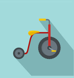 Red tricycle icon flat style vector
