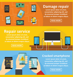 Repair cellphone banner horizontal set flat style vector