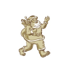Santa Claus Walking Waving Etching vector image