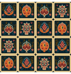 Seamless ethnic pattern with tropical flowers vector