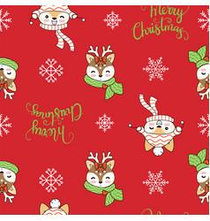 seamless pattern merry christmas animals on red vector image