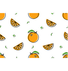 seamless pattern orange icons isolated on white vector image