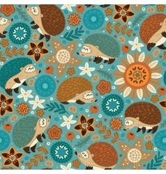 Seamless pattern with hedgehogs and floral vector