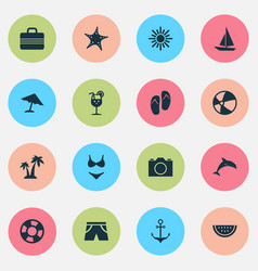 Season icons set collection of sea star baggage vector
