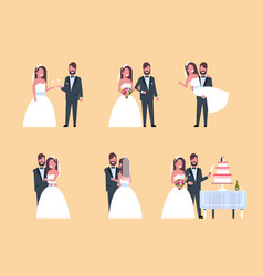 set just married man woman standing together vector image